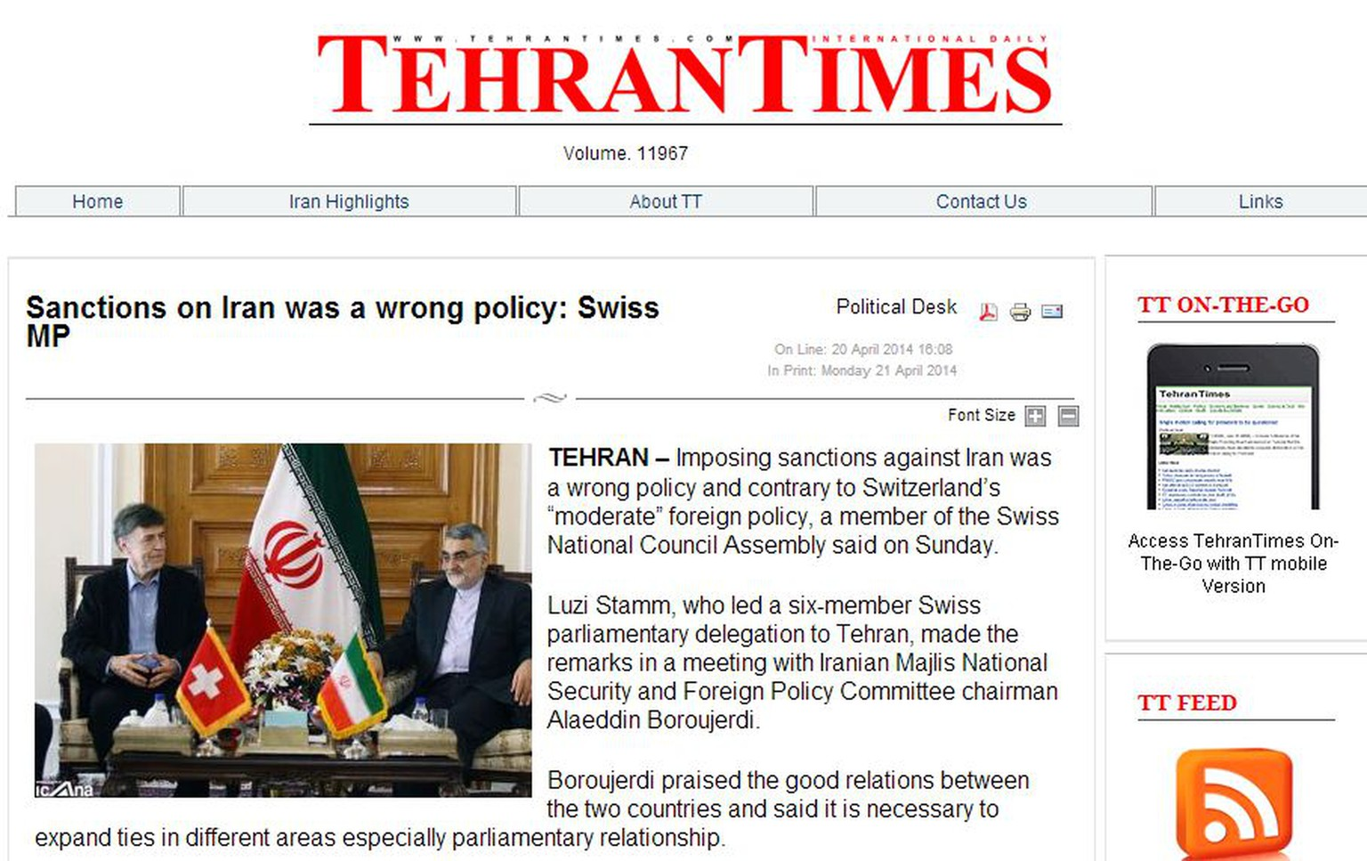 Luzi Stamm in der Tehran Times (Screenshot)  http://www.tehrantimes.com/politics/115231-sanctions-on-iran-was-a-wrong-policy-swiss-mp