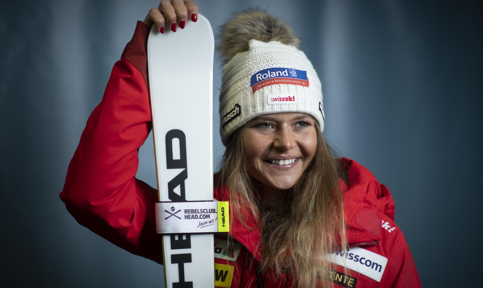 Corinne Suter of Switzerland, pictured at a press event in an underground parking lot at the FIS Alpine Ski World Cup season in Soelden, Austria, on Friday, October 16, 2020. The Alpine Skiing World Cup season 2020/2021 will be opened this weekend in Soelden, the traditional start of the FIS Ski World Cup. (KEYSTONE/Gian Ehrenzeller)