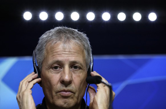 Borussia Dortmund's coach Lucien Favre attends a press conference at Wanda Metropolitano stadium in Madrid, Spain, Monday, Nov. 5, 2018. Atletico will play Borussia Dortmund Tuesday in a Group A Champions League soccer match.. (AP Photo/Manu Fernandez)