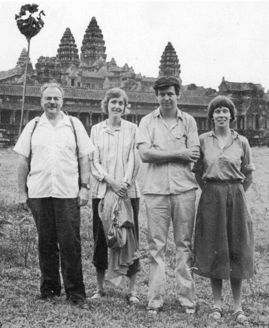 Gunnar Bergström (second from right), Jan Myrdal (first from left) and other members of the friendship association during their visit to Cambodia