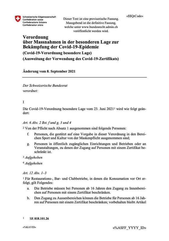 Covid-19-Verordnung besondere Lage Covid-Verordnung