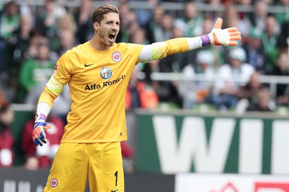 BREMEN, GERMANY - MAY 02: Kevin Trapp of Frankfurt reacts during the First Bundesliga match between SV Werder Bremen and  Eintracht Frankfurt  at Weserstadion on May 2, 2015 in Bremen, Germany.  (Photo by Oliver Hardt/Bongarts/Getty Images)