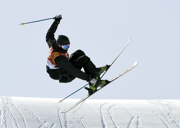 Andri Ragettli, of Switzerland jumps during the men's slopestyle qualifying at Phoenix Snow Park at the 2018 Winter Olympics in Pyeongchang, South Korea, Sunday, Feb. 18, 2018. (AP Photo/Lee Jin-man)