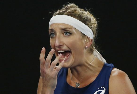 Tennis - Australian Open - Melbourne Park, Melbourne, Australia - 21/1/17 Switzerland's Timea Bacsinszky reacts during her Women's singles third round match against Australia's Daria Gavrilova. REUTERS/Thomas Peter