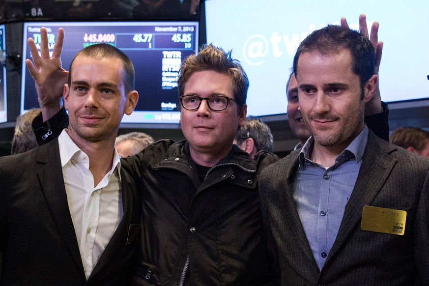 (FILE PHOTO) Jack Dorsey Confirmed As Twitter CEO. Dorsey is currently the company's interim CEO, co-founded Twitter in 2007 and was its first CEO. NEW YORK, NY - NOVEMBER 07:  (L-R) Twitter co-founder Jack Dorsey, Twitter co-founder Biz Stone and Twitter co-founder Evan Williams pose for a photo after Twitter's IPO on the floor of the New York Stock Exchange (NYSE) on November 7, 2013 in New York City. Twitter went public November 7, on the NYSE selling at a market price of $45.10, with the initial price being set at $26 on November 6.  (Photo by Andrew Burton/Getty Images)