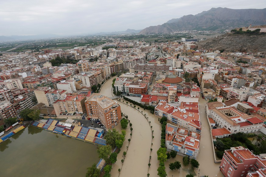 epa07842235 Aereal view of the flooded area of Orihuela, Alicante, eastern Spain 14 September 2019. A total of six people have died due to the 'gota fria' (cold drop) phenomenon in the Mediterranean coast. The eastern regions of Valencia and Alicante continue under red level alert due to torrential rains while the State Meteorological Agency AEMET has reduced the alert in Murcia to orange level.  EPA/MANUEL LORENZO