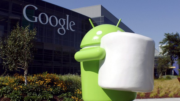 epa04888333 A handout photo provided by Google on 18 August 2015 shows a statue of 'Android Marshmallow', at Google headquarters in Mountain View, California, USA, 17 August 2015. Google unveiled the nickname for its next version of the Android operating system with a statue of Android Marshmallow on its Google Headquarters campus.  EPA/GOOGLE / HANDOUT  HANDOUT EDITORIAL USE ONLY