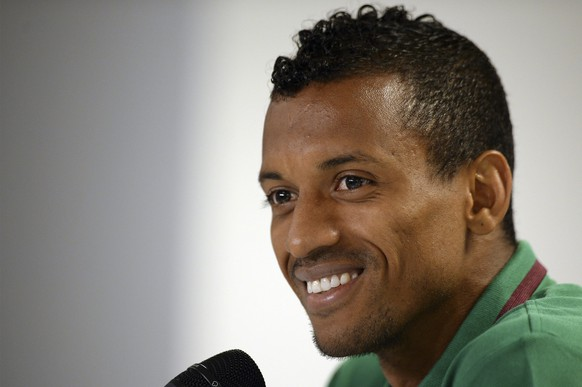 epa04800494 Portugal's national soccer team player Nani attends to a press conference in view of the upcoming match against Italy at Geneva Stadium, Switzerland, 15 June 2015. Portugal will face Italy in the International friendlies on 16 June.  EPA/HUGO DELGADO