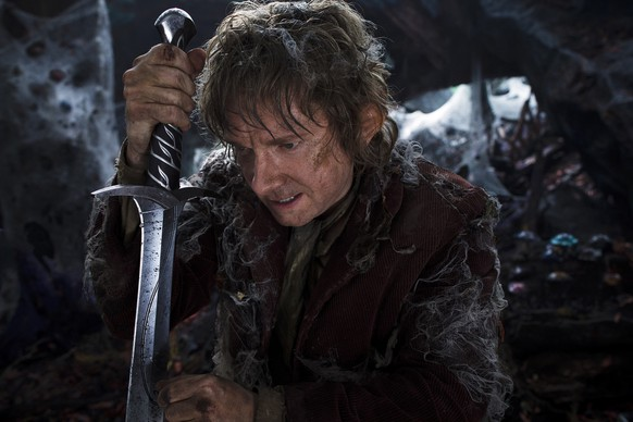 "This film image released by Warner Bros. Pictures shows Martin Freeman as  Bilbo Baggins in a scene from ""The Hobbit: The Desolation of Smaug."" (AP Photo/Warner Bros. Pictures,  Mark Pokorny)"