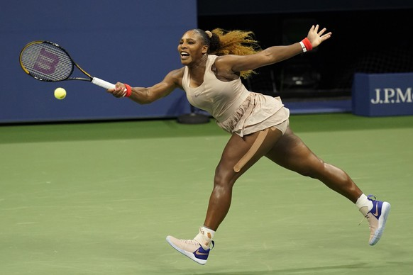 Serena Williams, of the United States, returns a shot to Margarita Gasparyan, of Russia, during the third round of the U.S. Open tennis championships, Thursday, Sept. 3, 2020, in New York. (AP Photo/Frank Franklin II) Serena Williams