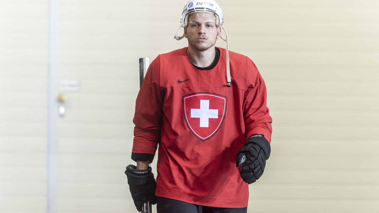 Switzerland`s Sven Andrighetto during a training session of the Swiss team at the IIHF 2019 World Ice Hockey Championships, at the Ondrej Nepela Arena in Bratislava, Slovakia, on Monday, May 13, 2019. (KEYSTONE/Melanie Duchene)
