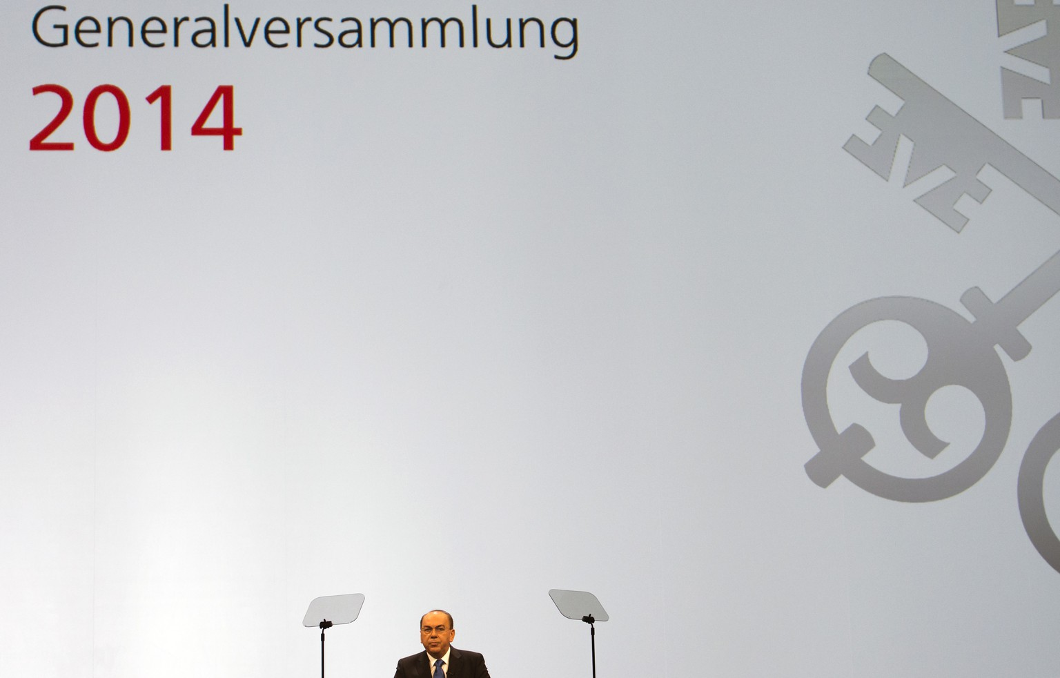 Axel A. Weber, chairman of the board of directors of Swiss Bank UBS, talks during the UBS general assembly in Basel, Switzerland, on Wednesday, May 7, 2014. (KEYSTONE/Georgios Kefalas)