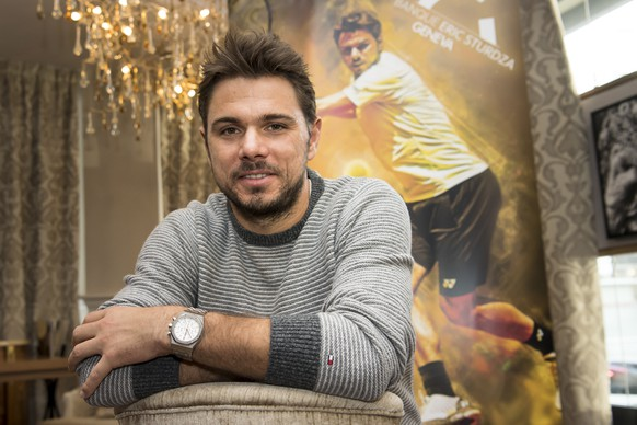 Swiss tennis player Stan Wawrinka poses in front of a poster during a press conference of the Geneva Open 2017 tennis tournament, on Wednesday, November 30, 2016, in Geneva, Switzerland.(KEYSTONE/Jean-Christophe Bott)