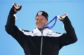Silver medallist Croatia's Ivica Kostelic celebrates during the medal ceremony for the men's alpine skiing super combined event at the 2014 Sochi Winter Olympics February 15, 2014.  REUTERS/Shamil Zhumatov (RUSSIA  - Tags: OLYMPICS SPORT SKIING)