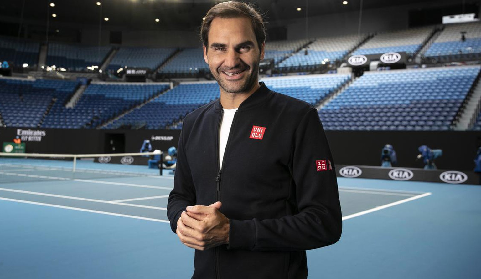 epa08118871 A handout photo made available by Tennis Australia shows Roger Federer of Switzerland posing for a photo during a practice session ahead of the Australian Open tennis tournament at Rod Laver Arena in Melbourne, Victoria, Australia, 11 January 2020. The Australian Open 2020 will take place at Melbourne Park from 20 January to 02 February. EPA/FIONA HAMILTON/TENNIS AUSTRALIA HANDOUT AUSTRALIA AND NEW ZEALAND OUT HANDOUT EDITORIAL USE ONLY/NO SALES