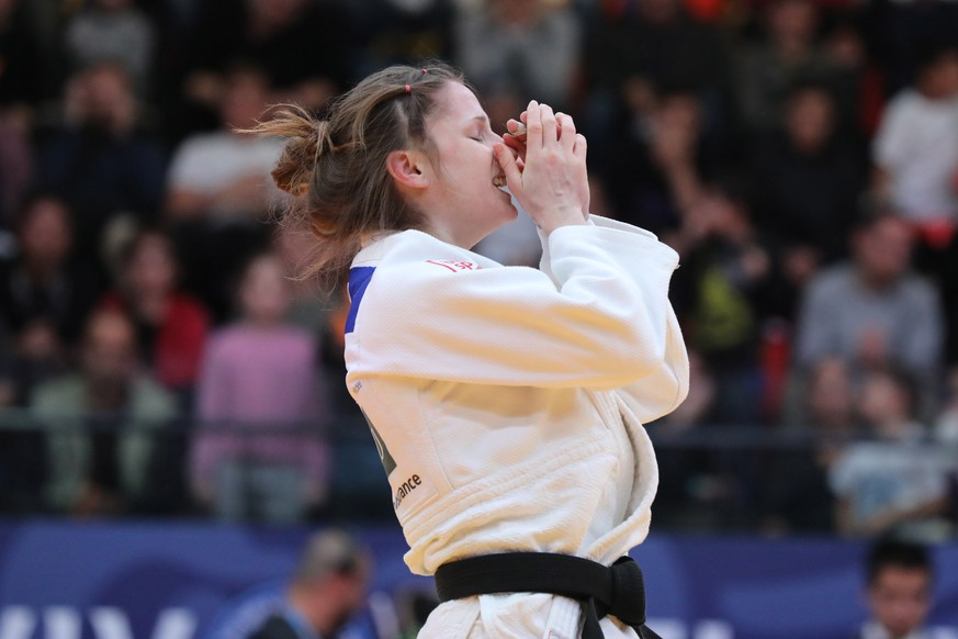 epa07316890 Fabienne Kocher of Switzerland celebrates  winning against Geffen Primo of Israel at the women's  under 52 kg weight competition at  the Tel Aviv Grand Prix Judo tournament in Tel Aviv, Israel, 24 January 2019.  EPA/ABIR SULTAN