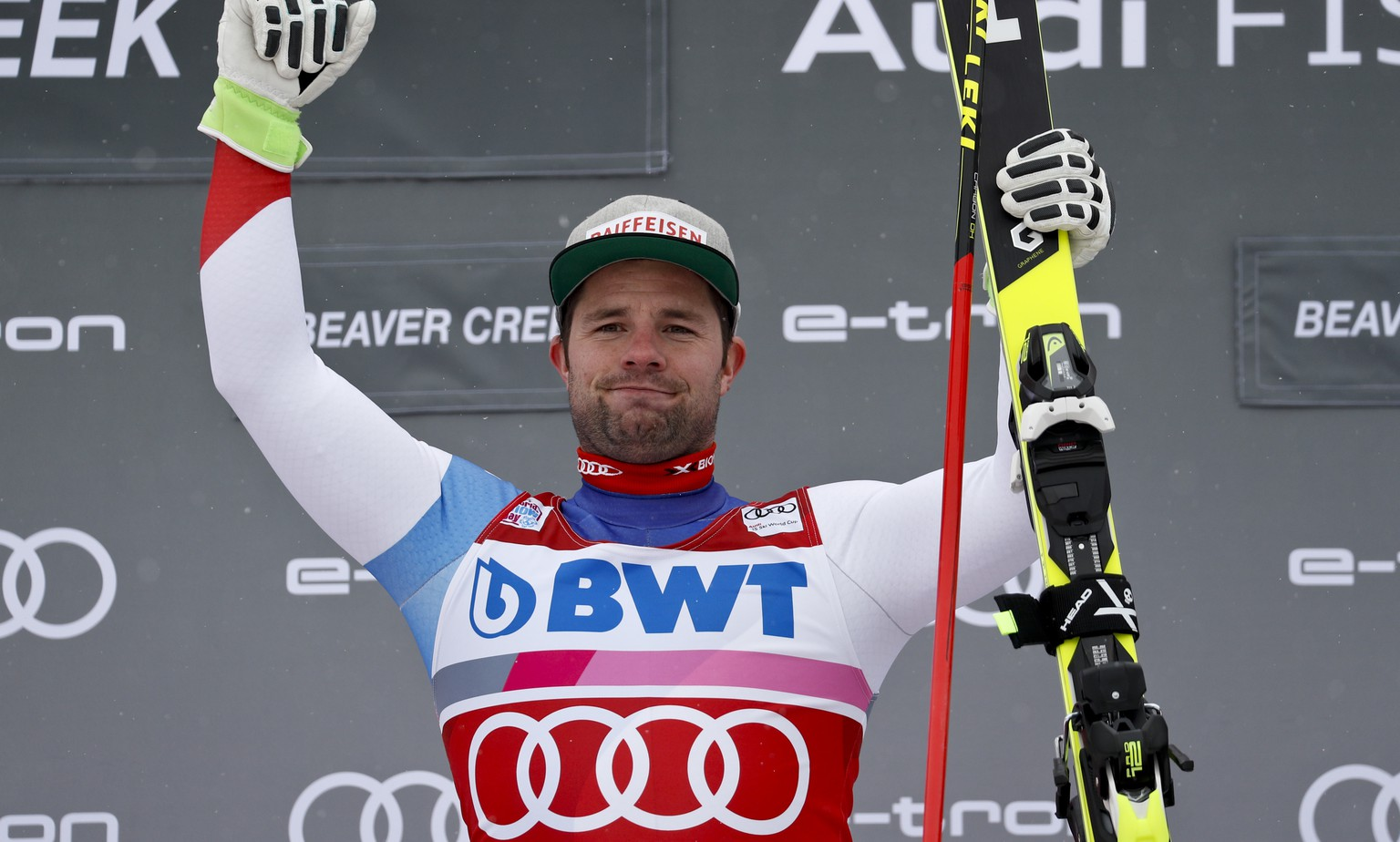 Switzerland's Beat Feuz celebrates after winning the Men's World Cup downhill skiing race Friday, Nov. 30, 2018, in Beaver Creek, Colo. (AP Photo/John Locher)