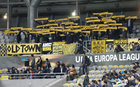 BSC Young Boys' supporters before the UEFA Europa League group A match between Kazakhstan's FC Astana and Switzerland's BSC Young Boys at the Astana Arena in Astana, Kazakhstan, Thursday, September 29, 2016. (KEYSTONE/Thomas Hodel)