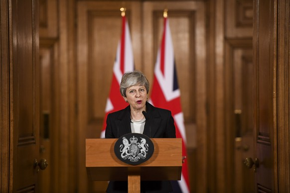 epa07451815 British Prime Minister Theresa May makes a statement inside number 10 Downing Street in London, Britain, 20 March 2019. According to reports, British Prime Minister Theresa May has requested an extension of Article 50 until 30 June 2019.  EPA/CHRIS J. RATCLIFFE / POOL