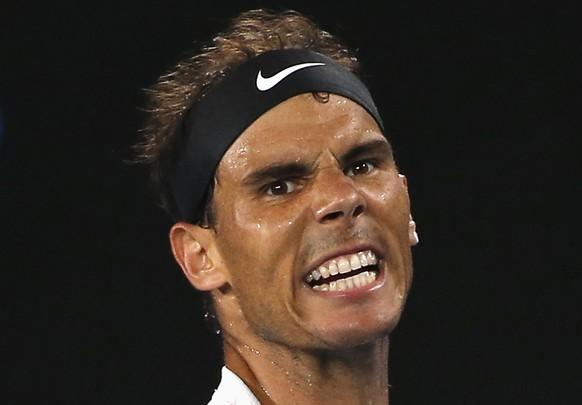 Tennis - Australian Open - Melbourne Park, Melbourne, Australia - 27/1/17 Spain's Rafael Nadal reacts during his Men's singles semi-final match against Bulgaria's Grigor Dimitrov. REUTERS/Issei Kato