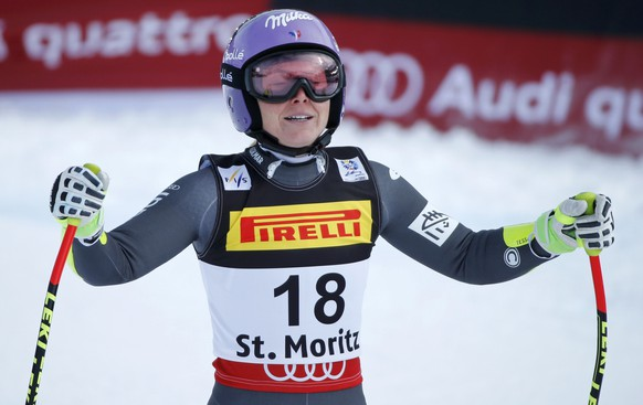 Alpine Skiing - FIS Alpine Skiing World Championships - Women's Super G - St. Moritz, Switzerland - 7/02/17 - Tessa Worley of France reacts at the finish line.  REUTERS/Denis Balibouse