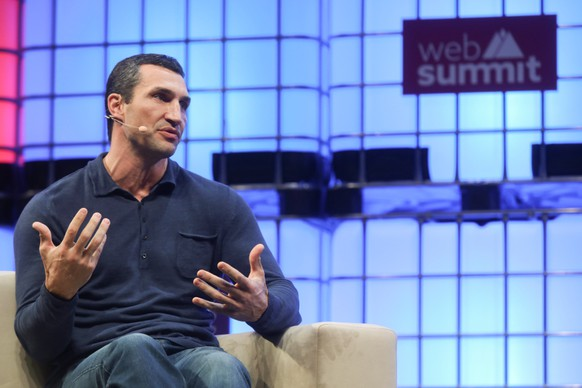 epa06316364 Ukrainian Wladimir Klitschko CEO and Boxing Legend, Klitschko Ventures speaks on the third day the 7th Web Summit in Lisbon, Portugal, 08 November 2017. The annual technology and internet conference attracts over 60,000 attendees from more than 100 countries, according to the organizers.  EPA/MIGUEL A. LOPES