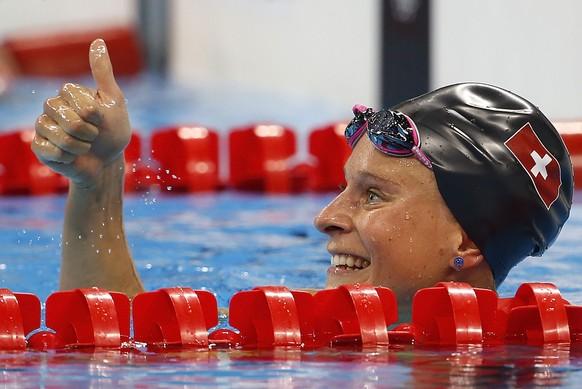 Switzerland's Martina Van Berkel after a women's 400-meter individual medley heat during the swimming competitions at the 2016 Summer Olympics, Saturday, Aug. 6, 2016, in Rio de Janeiro, Brazil.  (KEYSTONE/Patrick B. Kraemer)