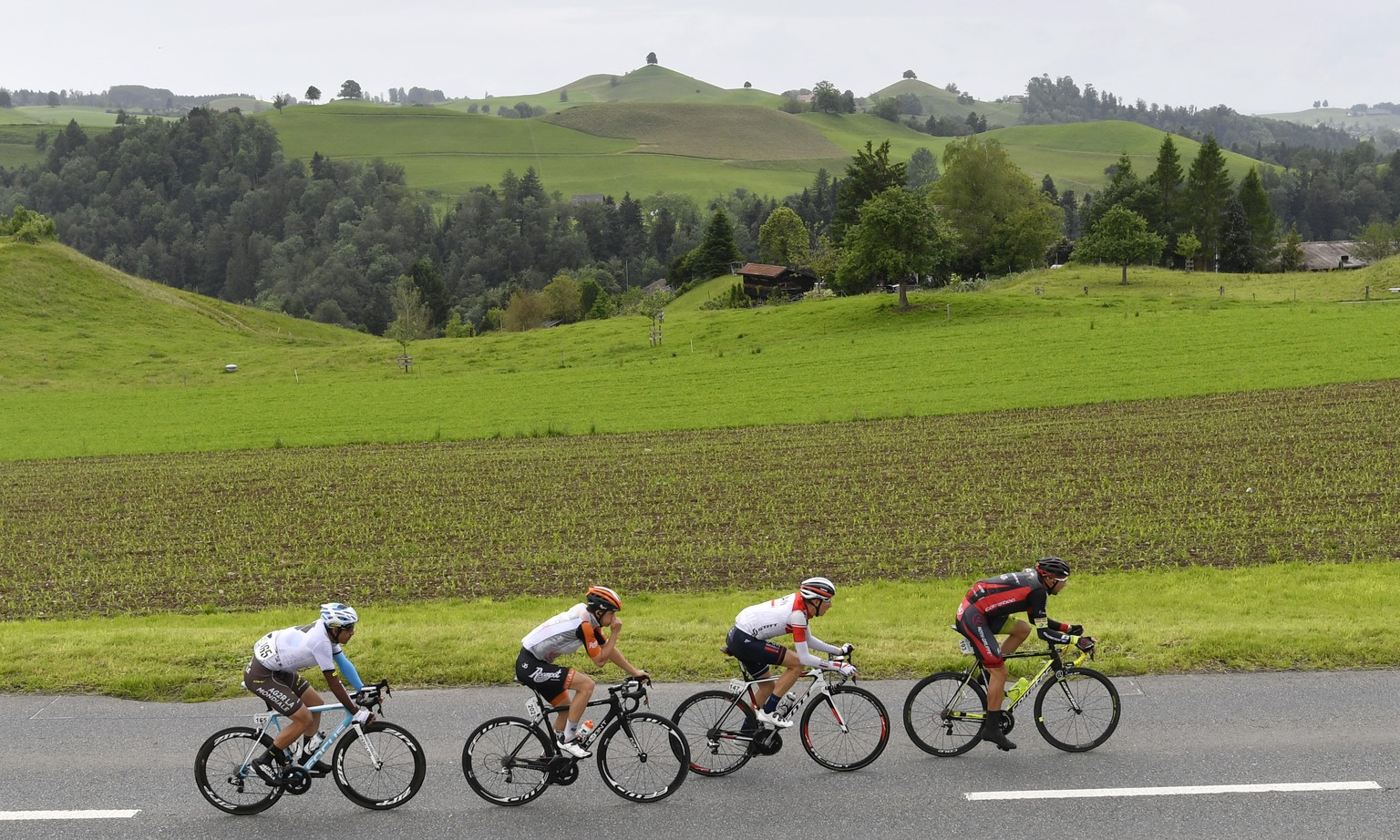 The four leading riders with Austrian Mathias Krizek, Team Roth, Swiss Marcel Wyss, Iam Cylcling, Dutch Antwan Tolhoek, Roompot Oranje Peloton and France's Sebastien Minard, Ag2r La Mondial, from right, on their way near Spitzen, Switzerland, during the 2nd stage, a 187,6 km race with start and finish in Baar, Switzerland, at the 80th Tour de Suisse UCI ProTour cycling race, on Sunday, June 12, 2016. (KEYSTONE/Gian Ehrenzeller)