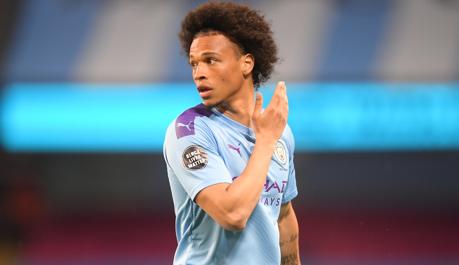epa08518716 (FILE) - Leroy Sane of Manchester City who came on from the bench during the English Premier League match between Manchester City and Burnley in Manchester, Britain, 22 June 2020 (re-issued 30 June 2020). According to media reports on 30 June 2020, Bayern Munich have agreed to buy the  winger for a fee of around ?45 million plus add-ons to sign a five-year deal.  EPA/Michael Regan/NMC/Pool EDITORIAL USE ONLY. No use with unauthorized audio, video, data, fixture lists, club/league logos or 'live' services. Online in-match use limited to 120 images, no video emulation. No use in betting, games or single club/league/player publications.