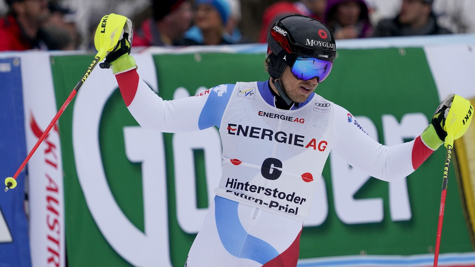 Switzerland's Mauro Caviezel gets to the finish area after completing an alpine ski, men's World Cup combined, in Hinterstoder, Austria, Sunday, March 1, 2020. (AP Photo/Giovanni Auletta)
