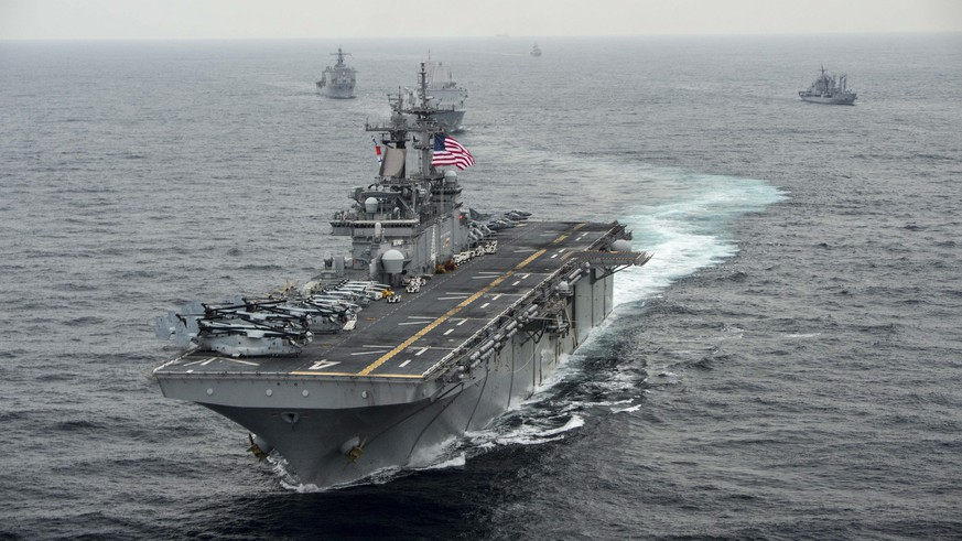 epa07725933 (FILE) - A handout photo made available by the US Navy Media Content Operations on shows the USS Boxer (LHD-4), a Wasp-class amphibious assault ship, transiting the East Sea during Exercise Ssang Yong, 08 March 2016(reissued 19 July 2019). According to media reports on 19 July, US President Donald Trump said, the USS Boxer shot down an Iranian drone after it came within a kilometer of the ship.  EPA/MCSN CRAIG Z. RODARTE / HANDOUT HANDOUT  HANDOUT EDITORIAL USE ONLY/NO SALES