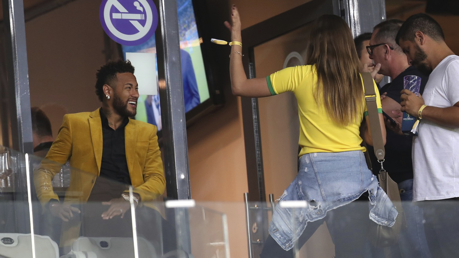 Brazil's soccer player Neymar, left, is seen before a Copa America semifinal soccer match between Brazil and Argentina at the Mineirao stadium in Belo Horizonte, Brazil, Tuesday, July 2, 2019. (AP Photo/Natacha Pisarenko)