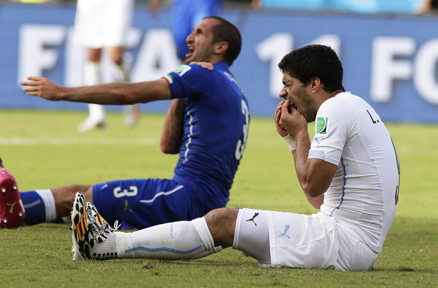 epa04278252 Italy's Giorgio Chiellini (L) claims he was bitten by Uruguay's Luis Suarez (R) during the FIFA World Cup 2014 group D preliminary round match between Italy and Uruguay at the Estadio Arena das Dunas in Natal, Brazil, 24 June 2014. 