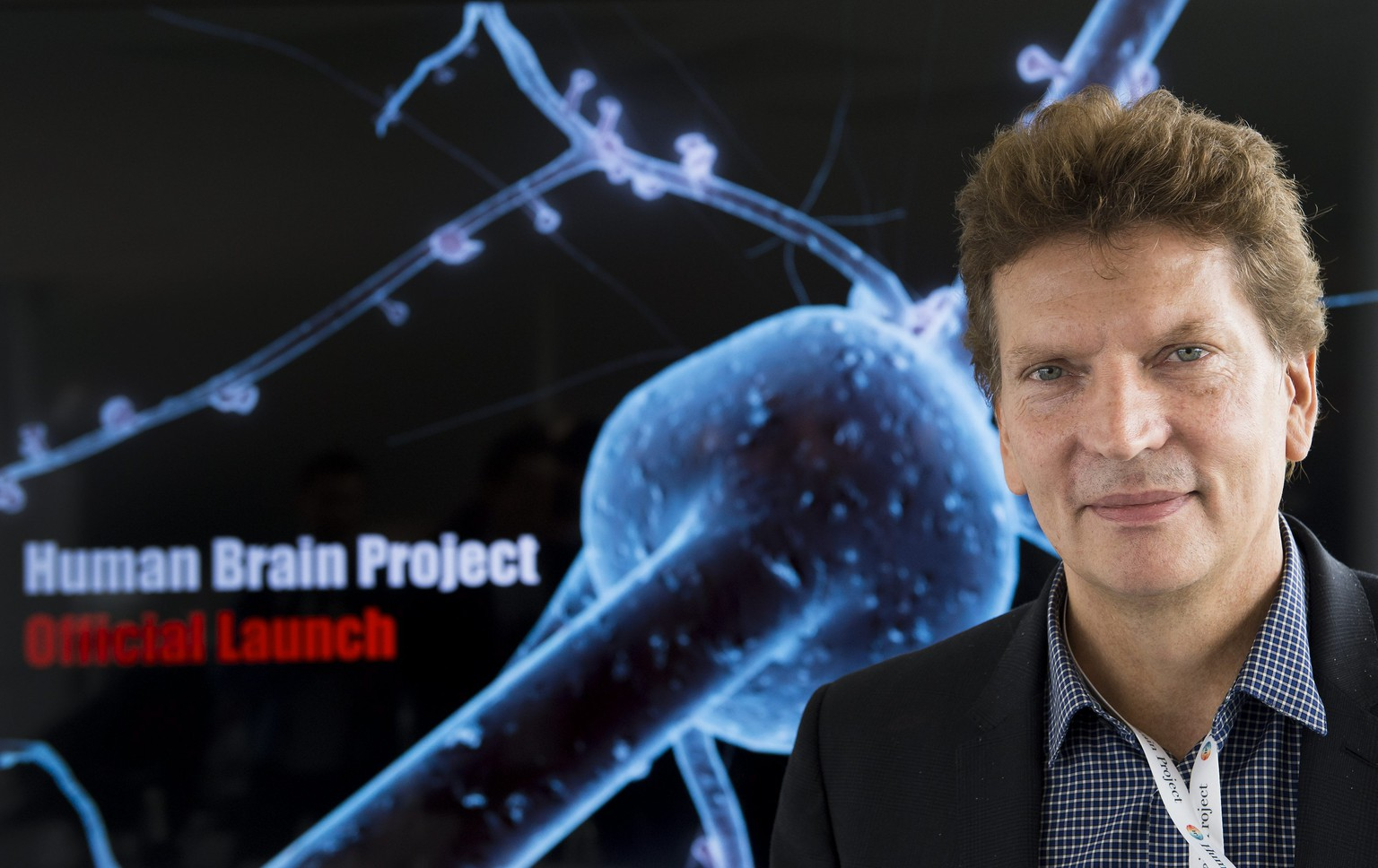 Henry Markram, neuroscientist and coordinator of the Human Brain Project (HBP), reacts during a press conference, at the Ecole Polytechnique Federale de Lausanne (EPFL) in Lausanne, Switzerland, Monday, October 7, 2013. The world's most ambitious neuroscience project is underway. Scientists from the 135 partner institutions of the Human Brain Project, co-funded by the EU with an estimated budget of 1.2 billion Euro, are meeting in Switzerland for the official launch. (KEYSTONE/Jean-Christophe Bott)