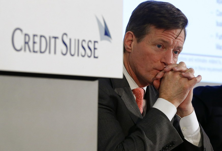 Credit Suisse Chief Executive Brady Dougan attends a news conference to present the bank's full-year results in Zurich in this February 12, 2015 file photo. Dougan is set to quit as chief executive of Credit Suisse, a person familiar with the matter told Reuters. He will be replaced by Tidjane Thiam, who heads insurance group Prudential, the Financial Times reported. Thiam is expected to be announced as a replacement for Dougan by the London-based insurer, which reports its annual results at 0700 GMT on Tuesday, March 10, 2015, the FT said.  REUTERS/Arnd Wiegmann/Files (SWITZERLAND - Tags: BUSINESS)