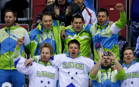 Slovenian hockey fans cheer a third period goal against Slovakia during a men's ice hockey game at the 2014 Winter Olympics, Saturday, Feb. 15, 2014, in Sochi, Russia. (AP Photo/Mark Humphrey)