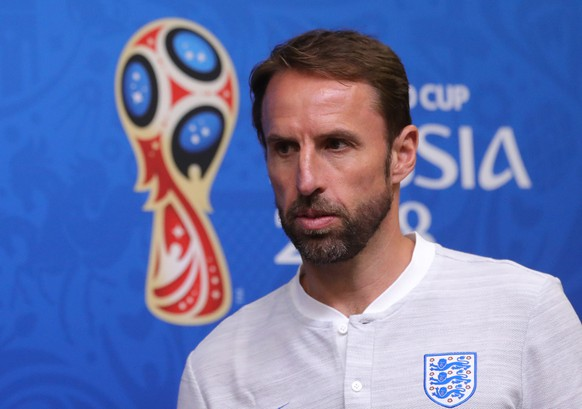 epa06844829 England's head coach Gareth Southgate  attends a press conference in Kaliningrad, Russia, 27 June 2018. England will face Belgium in the FIFA World Cup 2018 Group G preliminary round soccer match on 16 June 2018.  EPA/ARMANDO BABANI