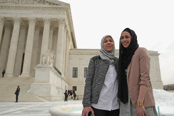FILE - JUNE 1, 2015: It was reported that the Supreme Court ruled against Abercrombie & Fitch, deciding that the companys failure to accommodate job applicant Samantha Elauf who wore a hijab violated civil rights law June 1, 2015. WASHINGTON, DC - FEBRUARY 25:  Samantha Elauf (R) and her mother Majda Elauf of Tulsa, Oklahoma, pose for photographers outside the U.S. Supreme Court after the court heard oral arguments in EEOC v. Abercrombie & Fitch February 25, 2015 in Washington, DC. Elauf filed a charge of religious discrimination with the Equal Employment Opportunity Commission saying Abercrombie & Fitch violated discrimination laws in 2008 by declining to hire her because she wore a head scarf, a symbol of her Muslim faith. (Photo by Chip Somodevilla/Getty Images)