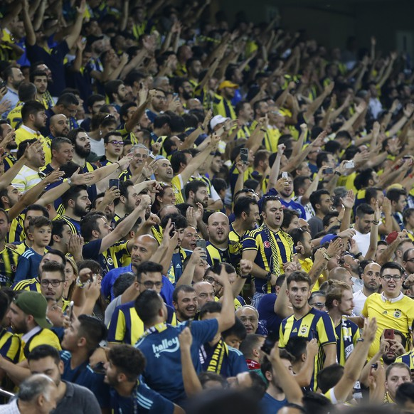 Fenerbahce supporters cheer on the stands during the Champions League third qualifying round, second leg, soccer match between Fenerbahce and Benfica at the Sukru Saracoglu stadium in Istanbul, Tuesday, Aug. 14, 2018. (AP Photo/Lefteris Pitarakis)