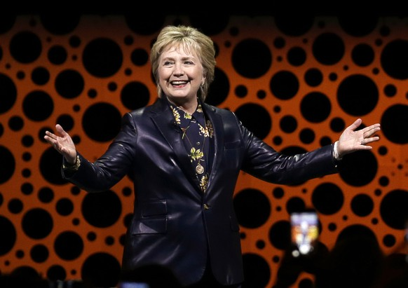 FILE - In this March 28, 2017, file photo, former Secretary of State Hillary Clinton gestures while speaking before the Professional Businesswomen of California in San Francisco. Clinton will speak at BookExpo, the industry's annual national gathering on June 1, convention officials said Wednesday, May 10. (AP Photo/Ben Margot, File)
