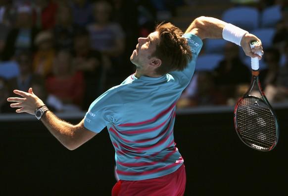 Tennis - Australian Open - Melbourne Park, Melbourne, Australia - 18/1/17 Switzerland's Stan Wawrinka serves during his Men's singles second round match against Steve Johnson of the U.S. .REUTERS/Jason Reed
