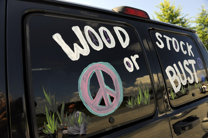 FILE - This Aug. 14, 2009 file photo shows a van decorated with