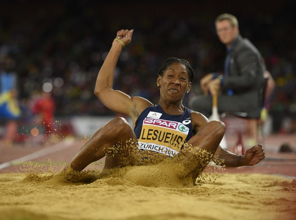 France's Eloyse Lesueur competes in the Women's long jump final during the European Athletics Championships at the Letzigrund stadium in Zurich on August 13, 2014.    AFP PHOTO / FABRICE COFFRINI