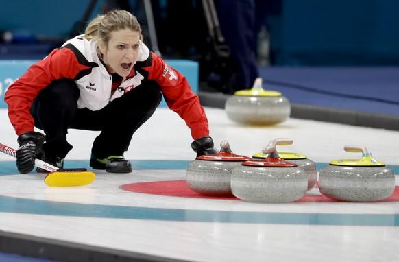 Switzerland's skip Silvana Tirinzoni makes a call during a women's curling match against United States at the 2018 Winter Olympics in Gangneung, South Korea, Thursday, Feb. 15, 2018. (AP Photo/Natacha Pisarenko)