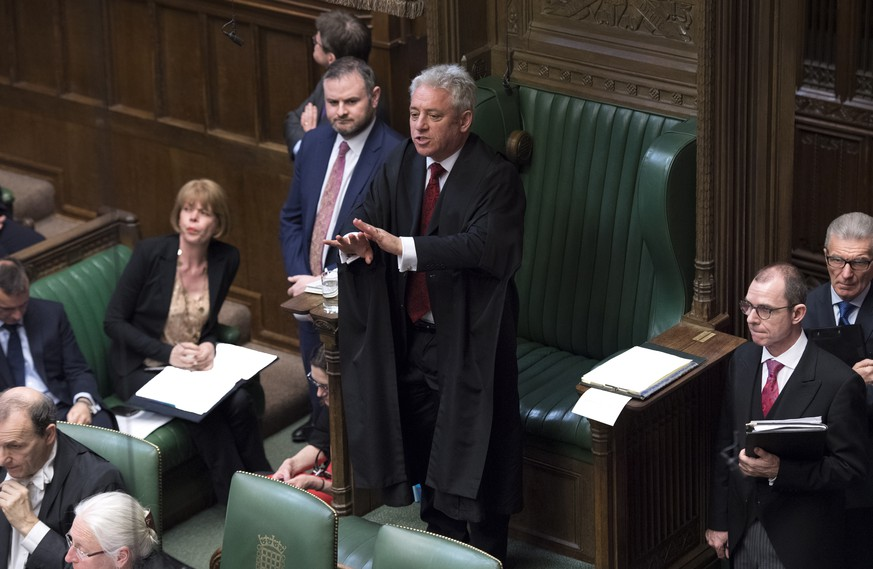 epa07463259 A handout photo made available by by the UK Parliament shows Speaker of the British House of Commons, John Bercow addressing the House after British Prime Minister Theresa May made a statement on Brexit to the British House of Commons, in Westminster, central London, Britain, 25 March 2019. Reports state that Theresa May updated ministers on her Brexit strategy at a meeting of her cabinet earlier in the day which comes as the EU announced that its preparation for a no-deal scenario has been completed. Members of Parliament are expected to vote on a series of alternatives to the Prime Minister's Brexit deal.  EPA/JESSICA TAYLOR / UK PARLIAMENT / HANDOUT MANDATORY CREDIT: UK PARLIAMENT JESSICA TAYLOR HANDOUT EDITORIAL USE ONLY/NO SALES