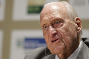 FILE - The Nov. 22, 2010 file photo shows Brazilian Joao Havelange, a former FIFA president, speaking during an interview at the Soccerex Global Convention in Rio de Janeiro. Havelange was in stable condition at Samaritano Hospital in Rio de Janeiro hospital, where he was being treated for a respiratory infection, the hospital said in a statement, Friday, June 6, 2014. The hospital said he was admitted on Wednesday. (AP Photo/Felipe Dana, File)