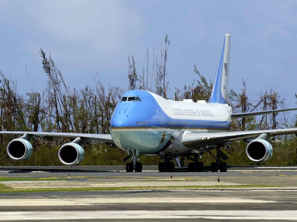 Air Force One with President Donald Trump aboard taxis after landing at the Luis Muñiz Air National Guard Base in San Juan, Puerto Rico, Tuesday, Oct. 3, 2017. Trump is visiting Puerto Rico in the wake of Hurricane Maria.(AP Photo/Ramon Espinosa)