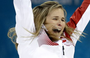 Canada's skip Jennifer Jones celebrates after winning the women's curling gold medal game against Sweden at the 2014 Winter Olympics, Thursday, Feb. 20, 2014, in Sochi, Russia. (AP Photo/Wong Maye-E)