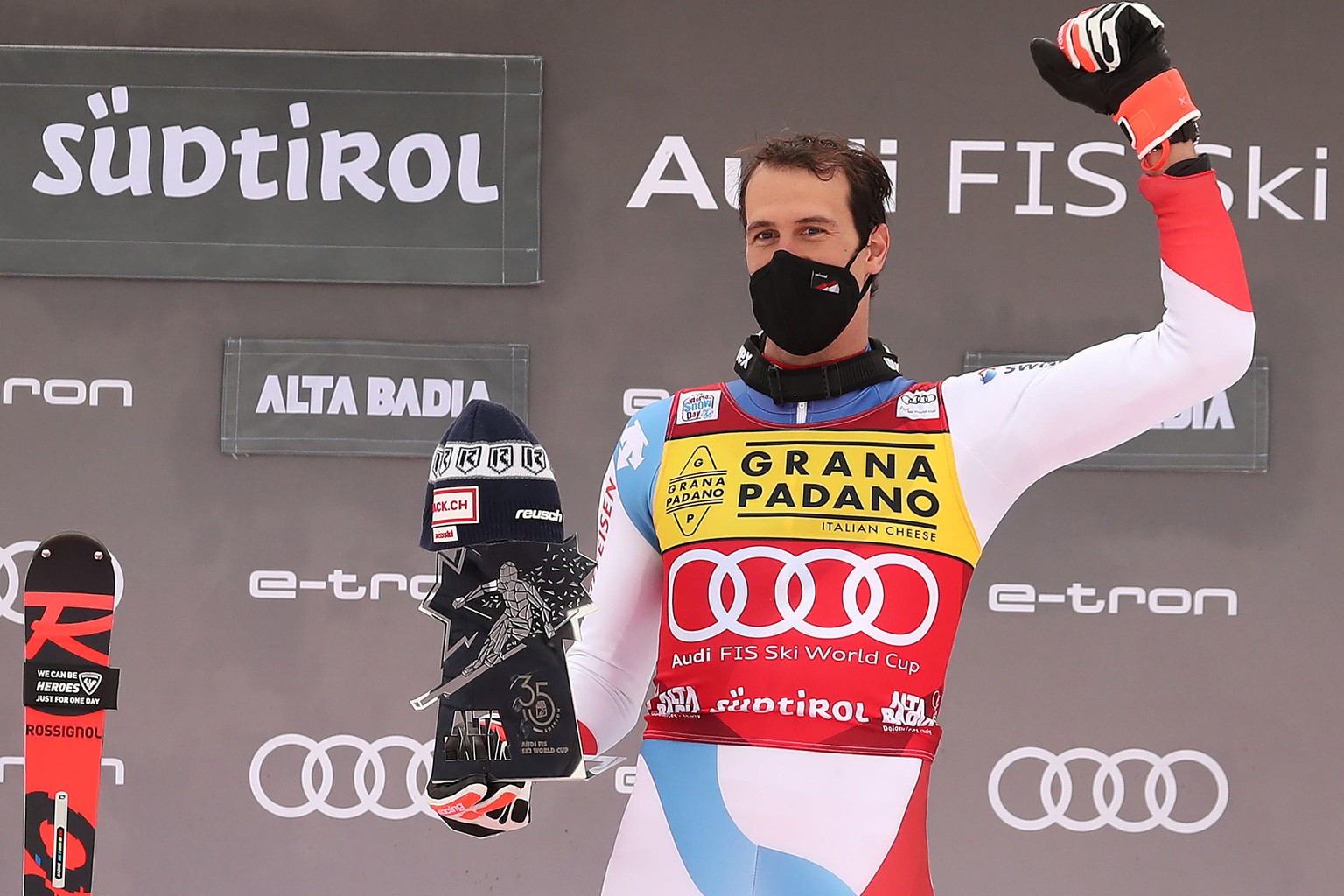 epa08897810 Winner Ramon Zenhaeusern of Switzerland celebrates on the podium for the Men's Slalom race at the FIS Alpine Skiing World Cup in Alta Badia, Italy, 21 December 2020.  EPA/ANDREA SOLERO