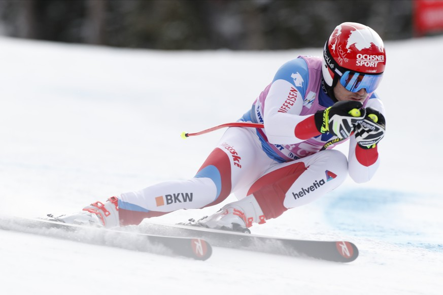 Switzerland's Loic Meillard skis during a Men's World Cup super-G skiing race Friday, Dec. 6, 2019, in Beaver Creek, Colo. (AP Photo/Robert F. Bukaty)